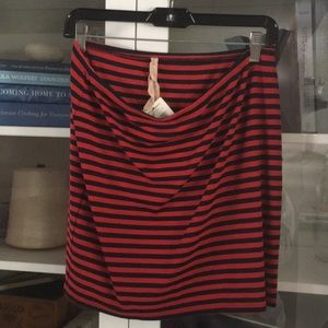 Black and red striped jersey skirt